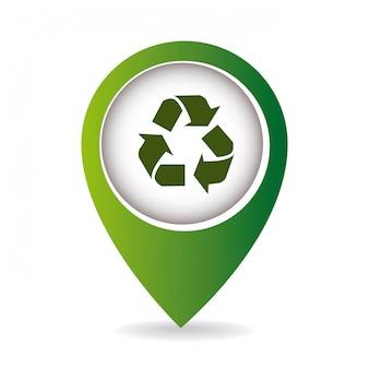 Recycle teken in aanwijzer