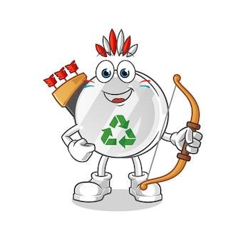 Recycle teken indiaanse stam karakter illustratie