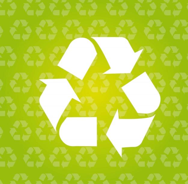 Recycle teken over groene achtergrond vectorillustratie