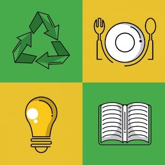 Recycle vierkante pictogrammen