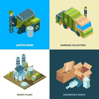 Recycle voedselconcept. afvalverwijdering bij stadsverwijderingsdiensten isometrische illustraties van vrachtwagens reinigen
