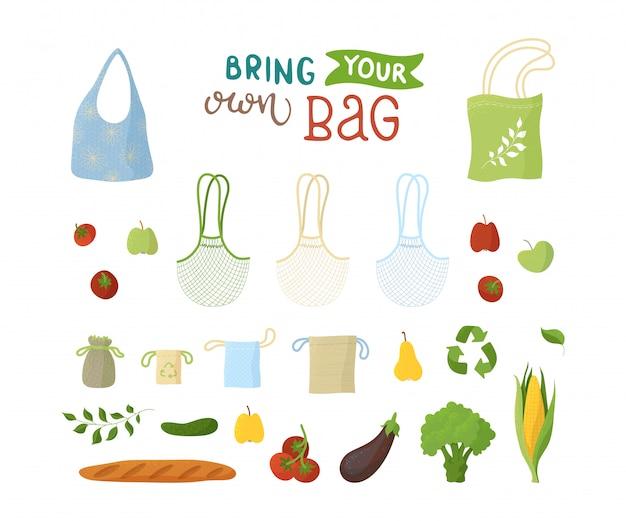 Recyclebare verpakkingen en biologische producten platte illustraties set. herbruikbare tassen, bakkerij en smaken, fruit en groenten