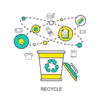 Recycleconcept: prullenbak met herbruikbare materialen in platte lijnstijl