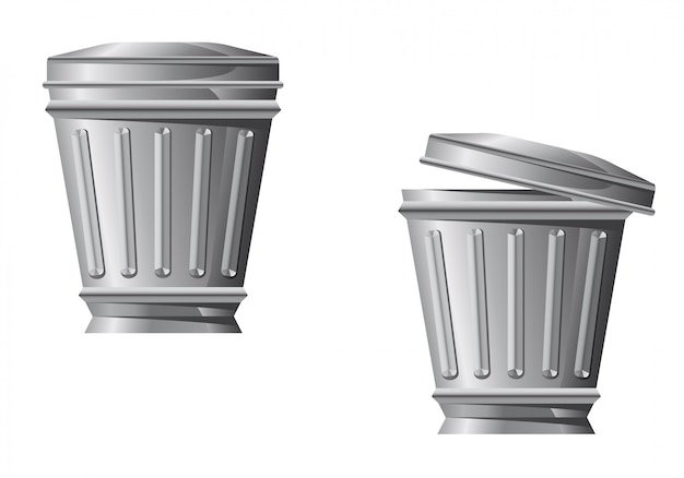 Recycleer bin pictogram in twee variaties geïsoleerd op een witte achtergrond