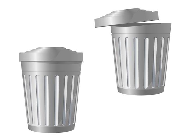 Recycleer bin pictogram in twee variaties geïsoleerd op wit