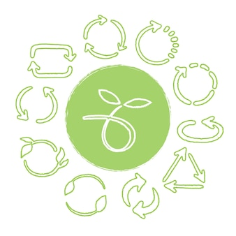Recycleer hand getrokken groene geplaatste pictogrammen. hergebruik van symbolen
