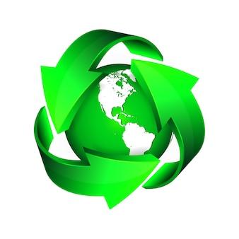 Recycleer pijlen en groene aarde.