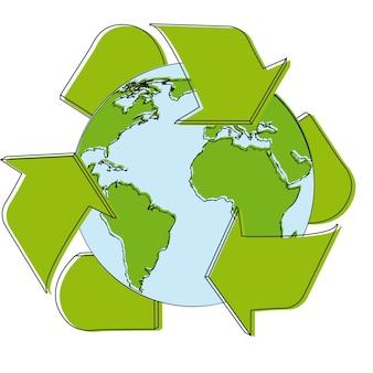 Recycleer tekenbeeldverhaal over witte vectorillustratie als achtergrond