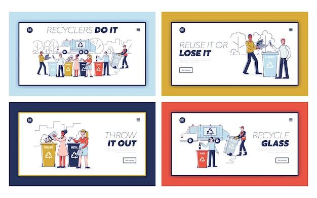Recycling afval concept. website bestemmingspagina set. mensen sorteren afval en gooien afval in de juiste prullenbakken. set van webpagina's cartoon overzicht flat s.