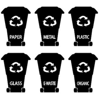 Recycling bakken. zwarte prullenbak. vuilnisbakken. glyph vuilnisbak. afval in glyph-stijl: organisch, plastic, metaal, papier, glas, e-waste. set van zwarte vuilnisbakken met gesorteerd afval op witte achtergrond.