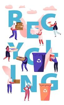 Recycling concept. mensen gooien afval in containers met recycle teken. stadsbewoners verzamelen afval. cartoon vlakke afbeelding