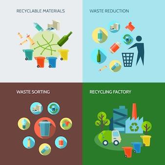 Recycling en afvalreductie pictogrammen instellen met materialen en sorteren plat