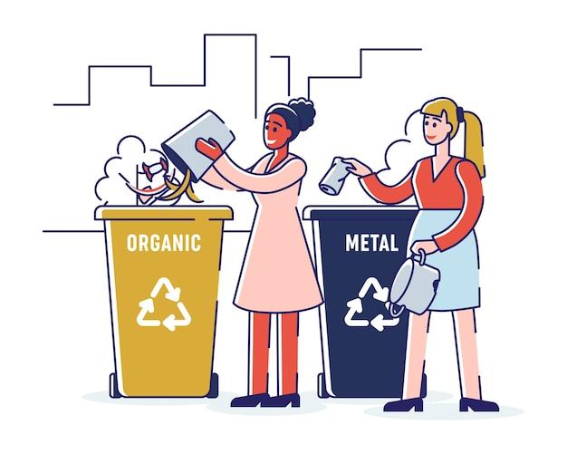 Recycling en nul afvalconcept. meisjes sorteren organisch en metalen afval en gooien afval in de juiste prullenbakken. cartoon overzicht plat.