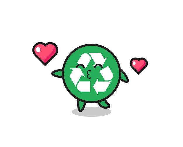 Recycling karakter cartoon met kussen gebaar, schattig ontwerp