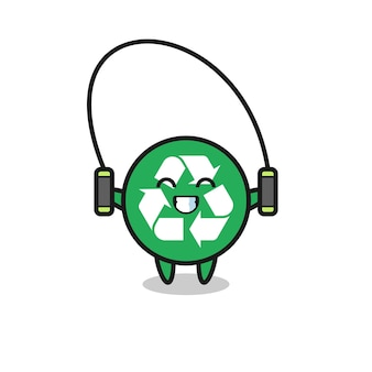 Recycling karakter cartoon met springtouw, schattig design