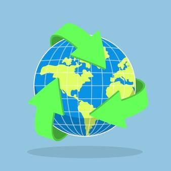 Recycling pijlsymbool en planeet aarde