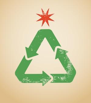 Recycling symbool in de vorm van een kerstboom. illustratie