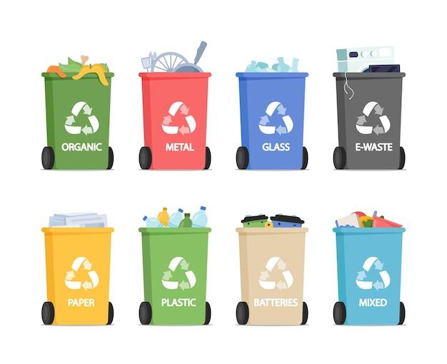 Recycling van afvalbakken voor gescheiden afval organisch, metaal, glas met elektronisch afval en papier of plastic afval, batterijen en gemengd afval