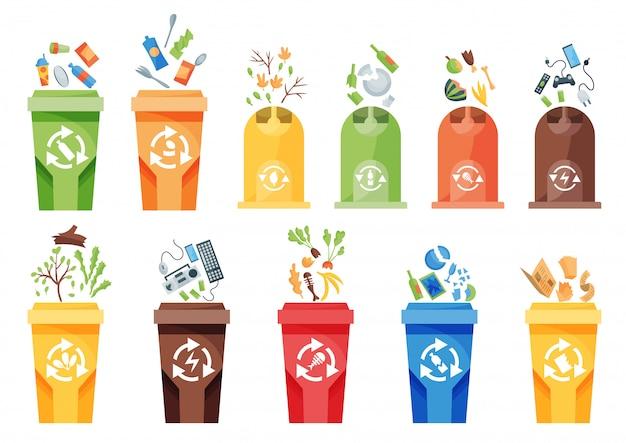 Recycling van afvalinzameling. plastic containers voor verschillende soorten afval. vuilnisbak illustratie in cartoon-stijl