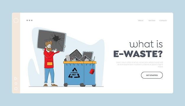 Recycling van e-afval, sjabloon voor bestemmingspagina's voor natuurbescherming.