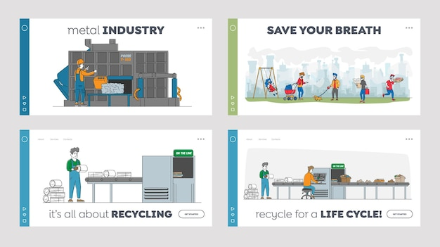 Recycling van ijzeren vuilnis bestemmingspagina sjabloon set