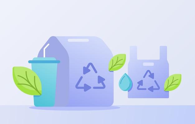Recycling van voedselverpakkingen met drinkbeker met vlakke stijl