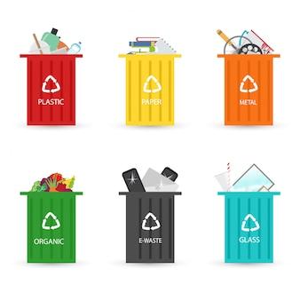 Recycling van vuilniselementen vuilnisbakken