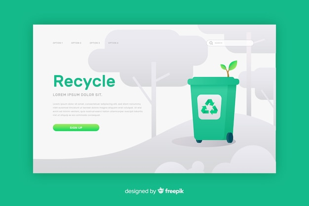 Recycling vuilnis bestemmingspagina sjabloon