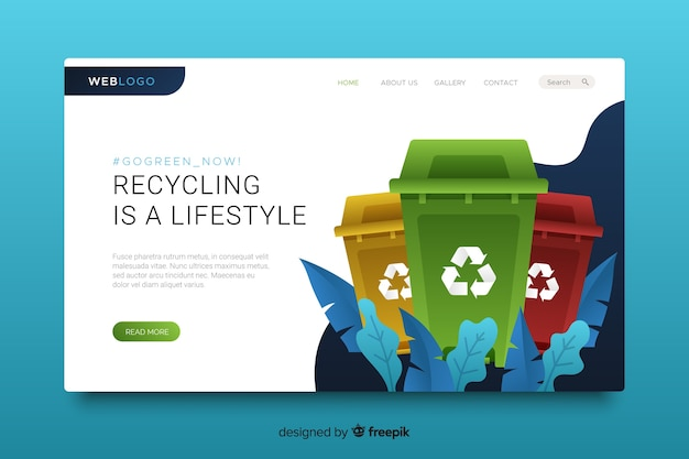 Recycling website bestemmingspagina sjabloon