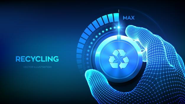 Recyclingniveau verhogen. recycle eco-concept. hand die een recyclingtestknop naar de maximale positie draait.
