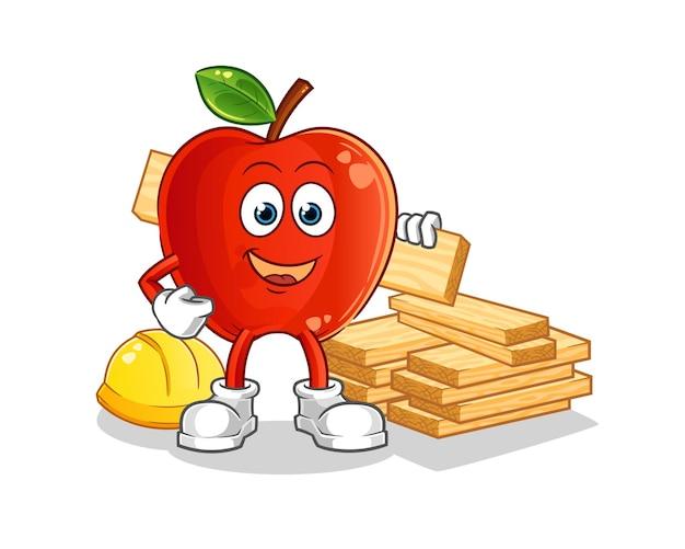 Red apple-bouwer. stripfiguur