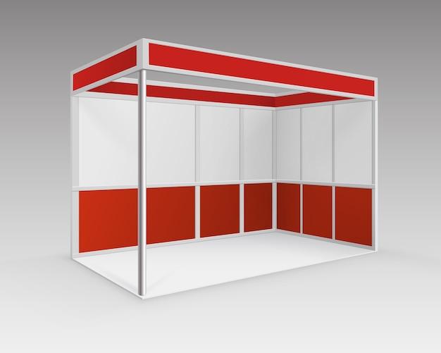 Red blank indoor trade exhibition booth standard stand voor presentatie in perspectief geïsoleerd op achtergrond