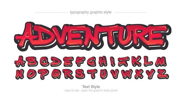 Red bold graffiti artistic font