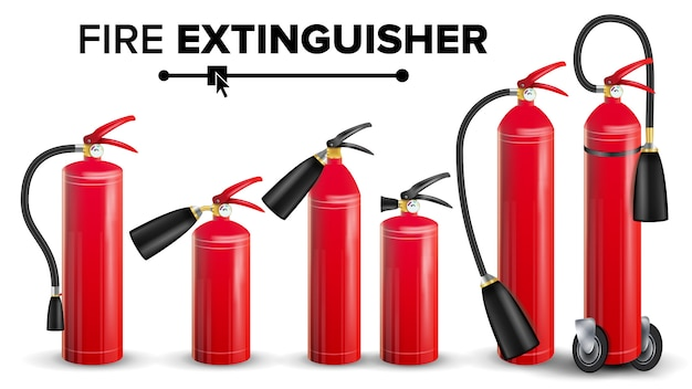 Red brandblusser vector. metaal rode brandblusapparaat geïsoleerde illustratie