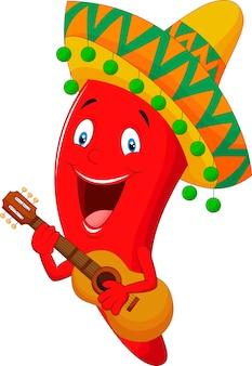 Red chili pepper stripfiguur