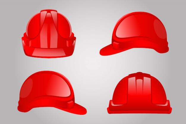 Red constuction helmet set