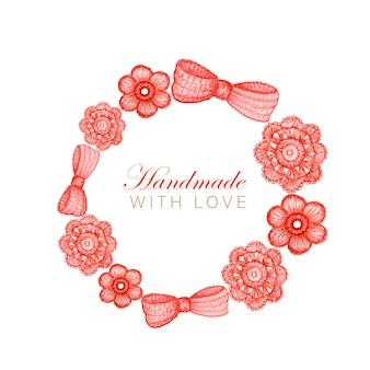 Red crochet shop logo ronde frame, branding, avatar samenstelling van gehaakt hart, strik, bloemen. illustratie voor handgemaakte breien of haken grens pictogrammen met kopie ruimte concept.