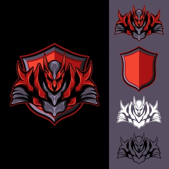Red dark knight: logo e-sport gaming