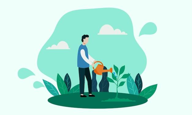 Red de aarde door de planten water te geven