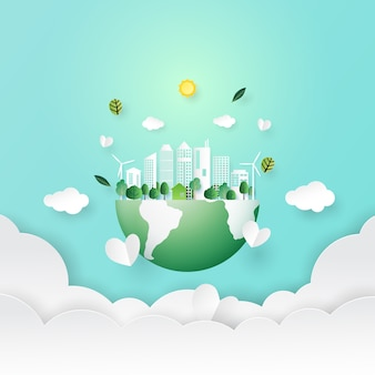 Red de aarde en eco-city-concept papierkunststijl