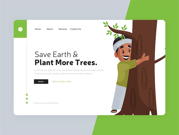 Red de aarde en plant meer bestemmingspagina-sjabloon voor bomen
