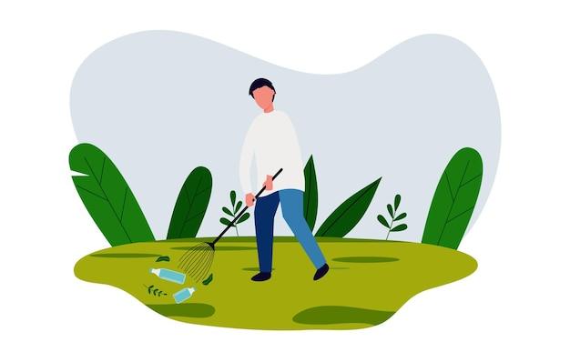 Red de aarde met het opruimen van afval