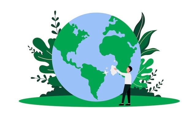 Red de aarde met het reinigen van aarde