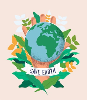 Red de aarde. wereld milieu dag concept illustratie met earth planet in hand silhouet op botanische planten verlaat achtergrond. werkt voor eco-poster of flyer of kaart- of bannerontwerp. vector