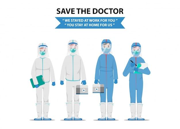Red de dokter die patiënten redt van de uitbraak van het coronavirus en het bestrijden van het coronavirus.