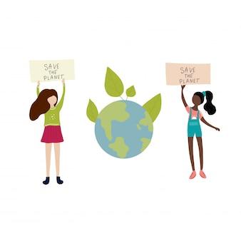 Red de meisjes van de planeet zeggen en aarde en bladeren