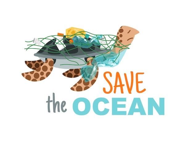 Red de oceaan. eco-illustratie over wereldwijde onderwaternatuur redden van vervuiling, handgetekende schildpad in net met plastic flessen