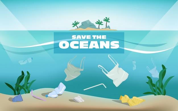 Red de oceanen van plasticvervuiling afval onder water de zee.