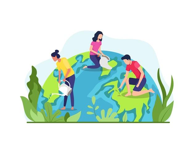 Red de planeet aarde. het concept van de aardedagvector, milieubescherming. groep mensen of ecologen die voor de aarde zorgen en de planeet redden. in vlakke stijl