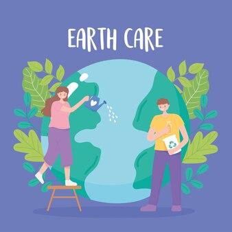 Red de planeet, aarde kaart meisje met gieter en jongen met recycle producten, globe zorg vectorillustratie